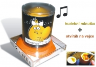ORANŽOVÝ dárkový set - hudební vajčná minutka + otvírák vajíček