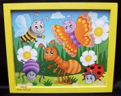 Pohádkový hmyz. Dětský obrázek v rámu do dětského pokoje.
