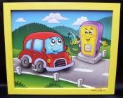 Autíčko benzinka.  Krásný obrázek v rámu do dětského pokoje.