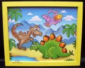 Zvířátka pravěk.  Krásný obrázek v rámu do dětského pokoje.