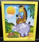 Zvířátka z Afriky. Obrázek v rámu do dětského pokoje.