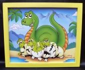 Brontosaurus.  Krásný obrázek v rámu do dětského pokoje.