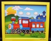 Malovaný obrázek v rámu do dětského pokoje. Vláček, vlak, lokomotiva