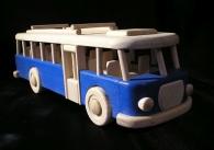 Autobus RTO hračka pro děti, dřevěný v modrém