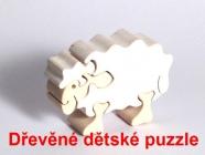 24 vzorů - dřevěné dětské puzle, zvířátka, příroda, doprava