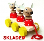 Tahací dřevěná hračka, žirafa, pejsek, myška