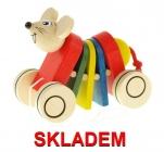 Tahací klapací hračka dřevěná myš