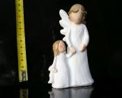 Bílý anděl, maminka a dcera, soška dekorace