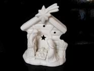 Bílý svítící betlém, vánoční dekorace