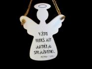 Anděl dřevěná dekorace na zavěšení