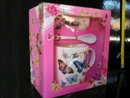 Růžový hrnek, lžička, podšálek,dárek pro holčičku