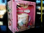 Hrníček, hrnky, lžička podšálek, dárkové balení růžový