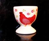 Stojánek na vařená vejce, keramický červený