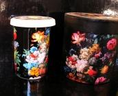 Hrnky na čaj se sítkem, motiv květiny