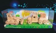 Dřevěné hračky buldozer + autojeřáb