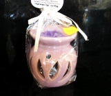 Růžová aromalampa keramická se svíčkou a voskem