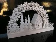 Bílý dřevěný svítící betlém, vánoční dekorace
