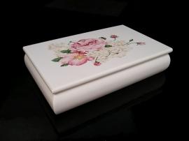 Bílé šperkovnice, motiv růže, krabička na šperky