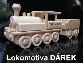 Lokomotiva dřevěný dárek pro tátu
