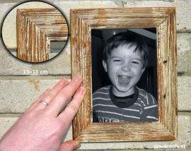 Retro dřevěný fotorám bílý 13x18 cm