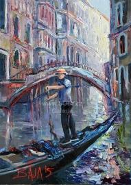 Chlapec a most, originální obraz olej na plátně, 50x70 cm, 15 000 Kč