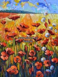 Vlčí máky, originál obraz olej na plátně, 100x75 cm, cena 18 500,-