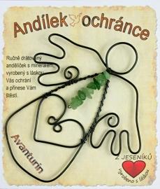 Dratěný anděl s kamenem Avanturin