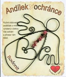 Anděl z drátu s kamenem Rodonit