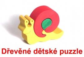 Dřevěné dětské puzzle snek