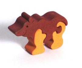 Dřevěné dětské puzzle medvěd