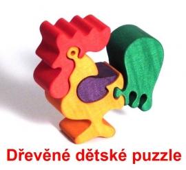 Dřevěné dětské puzzle kohout