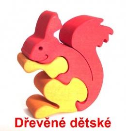 Dřevěné dětské puzzle veverka