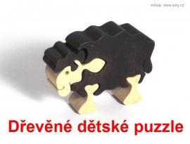 Dřevěné dětské puzzle ovce