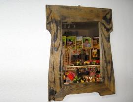 Retro chalupářské dřevěné zrcadlo v rámu