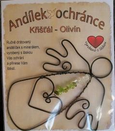 Křišťál - OLIVÍN andílek z drátu s kameny
