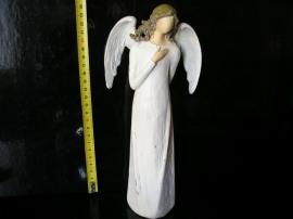 Bílý anděl s křídly, soška dekorace keramika