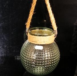 16 cm Skleněná dekoračn váza či svícen.