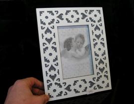 Fotorám dekoravaný bílý 10x15 cm