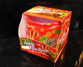 Vánoční vonná svíčka ve skle jablko skoříce