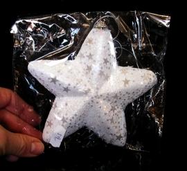 Vánoční bílá stříbná dekorační hvězda na stromek