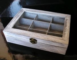 Retro dřevěná krabička na čaj, šedá