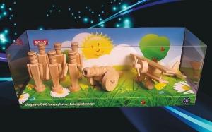 hračky ze dřeva, 6x vojáčci 90 mm + dělo + malý dvouplošník