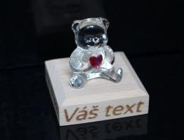 Skleněný medvídek, dárek s VAŠIM TEXTEM