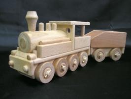 Parní lokomotiva s uhlákem, dřevěné hračky