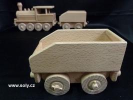 Uhlák k lokomotivě, hračky ze dřeva