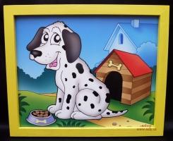 Pejsek, pes, dekorační obrázek.  Krásný obrázek v rámu do dětského pokoje.