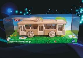 Trolejbus - pohyblivá dřevěná hračka