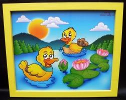 Kačenky.  Krásný obrázek v rámu do dětského pokoje.