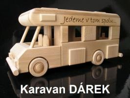 Karavan ze dřeva, pojízdný model - hračka