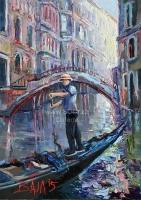 Benátky | Chlapec a most, originál olej na plátně od českého malíře
